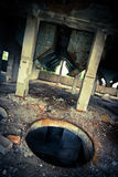 Hole in abandoned building. Hole in abandoned industrial building Royalty Free Stock Image