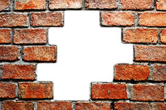 Hole in ancient brick wall. The hole in ancient brick wall Stock Images