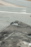 A hole in the asphalt road Royalty Free Stock Image