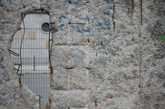 Hole in Berlin Wall. Looking through a hole in the Berlin wall, out to a part of modern Berlin Royalty Free Stock Photos