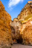 Hole of a big cave, Algarve Portugal Stock Photos