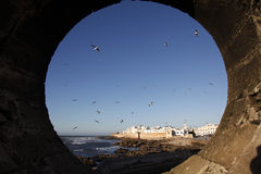The hole. A big hole looking to the city of essaouira in morocco Stock Photos