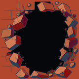 Hole Breaking Through Red Brick Wall. Vector cartoon clip art illustration of a hole in a red brick wall breaking or exploding out into rubble or debris. Ideal stock illustration