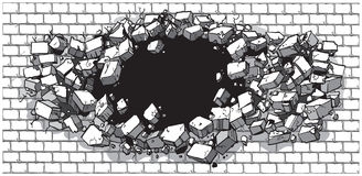 Hole Breaking Through Wide Brick Wall. Vector cartoon clip art illustration of a hole in a wide brick or cinder block wall breaking or exploding out into rubble Stock Photos