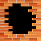 Hole in brick wall Royalty Free Stock Image