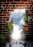 Hole in brick wall. A brick wall with hole and vines climbing on surface with a light breaking through and a blue cloudy background Stock Images