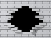 Hole in brick wall Royalty Free Stock Photography