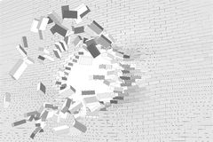 Hole in brick wall Royalty Free Stock Photos