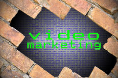 Hole In Brick Wall With Binary Digit Background Inside And Video Stock Photos