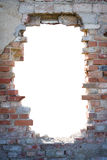 Hole in the brick wall with copy space. Brick wall with white hole in it Stock Image
