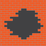 Hole in brick wall orange Royalty Free Stock Image