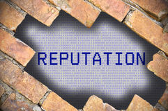 Hole In Brick Wall With reputation Word Stock Photos