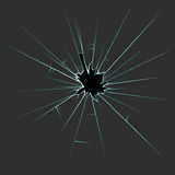 Hole in the broken glass with cracks and splinters. Hole in the broken glass with cracks. splinters and sharp edges Royalty Free Stock Photos