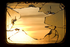 Hole broken screen television sunrise Stock Photos