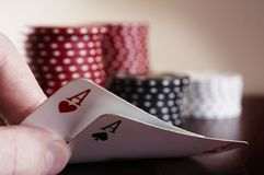 The hole cards. Texas holdem hole cards Royalty Free Stock Images