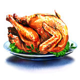 Hole christmas dinner turkey with salad Stock Photo