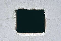 Hole in concrete wall. Close up Royalty Free Stock Photos