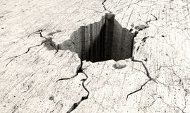 Hole In The Cracked Ground Perspective. An infintiely deep hole in a flat piece of cracked stone Stock Photos