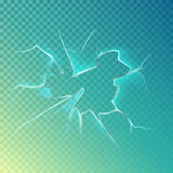 Hole with cracks on screen or glass, window. Hole with cracks on screen or glass, smashed or cracked window. Shattered glass background or breaking frame surface Stock Image