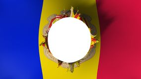 Hole cut in the flag of Andorra. White background, 3d rendering royalty free illustration