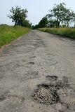 Hole on Damage Road. Damage Road Stock Photo
