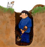 Hole digger. Man digging a hole with dog watching Stock Images
