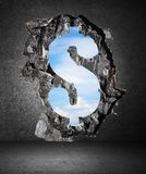 Hole in dollar form Stock Image