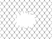 Hole in fence from silver mesh Royalty Free Stock Photos