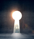 Hole in form keyhole. Opened concrete wall and hole in form keyhole Royalty Free Illustration