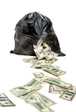 Hole in garbage bag Royalty Free Stock Images