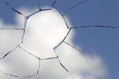 Hole glass broken cloud sky Stock Photos