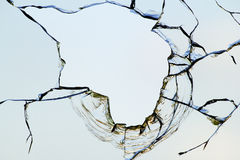 Hole glass broken  sky Royalty Free Stock Image