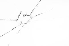 Hole in glass, isolated Royalty Free Stock Image