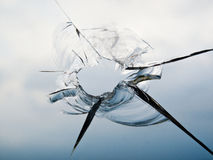 Hole in Glass Window Royalty Free Stock Photo