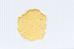 Hole and golden background Royalty Free Stock Images