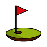 Hole golf with flag Stock Photography
