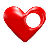 Hole in the heart. A 3d heart with a hole in it, and a white background Royalty Free Stock Photo