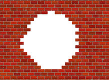 Hole in hi-res red small brick wall pattern Stock Photos