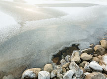 Hole in the ice cover near shore stones at a freezing lake Royalty Free Stock Images