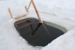 Hole in the ice for swimming Stock Photography