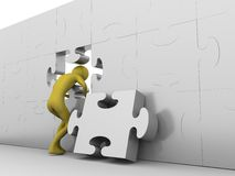 Hole in the jigsaw wall. High resolution 3D render isolated on white Royalty Free Stock Images