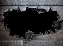 Hole in metal armor steam punk background Stock Image