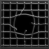 Hole in metal cage. Hole in metal cage on black background Royalty Free Stock Images