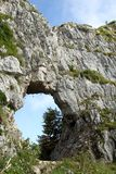 Hole on the mountain called PRIA FORA in Vicenza in Italy Royalty Free Stock Images