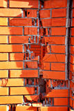 Hole n Red Brick Wall Background Stock Image
