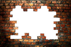 Hole in an old brick wall - with clipping path Royalty Free Stock Image