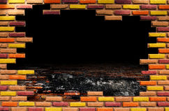 Hole in Old room with brick wall. Grunge industrial interior Uneven diffuse lighting version. Design component Stock Photos