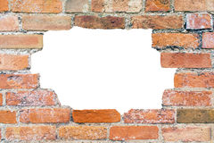 Hole in an Old Weathered Brick Wall Royalty Free Stock Photos