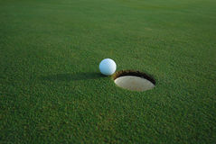Hole In One. ALMOST!  The joys and frustration of golf...  Plenty of room for your ad copy Stock Photography