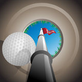 Hole in One. Illustration of a worms eye view of a Golf ball falling into the hole royalty free illustration